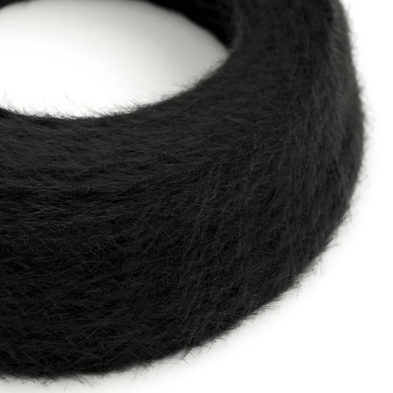 Burlesque gedraaide elektriciteitskabel bekleed met stof, pluizend harig effect, effen kleur zwart TP04