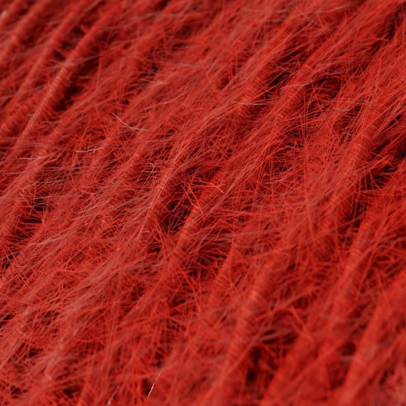 Burlesque gedraaide elektriciteitskabel bekleed met stof, pluizend harig effect, effen kleur rood TP09