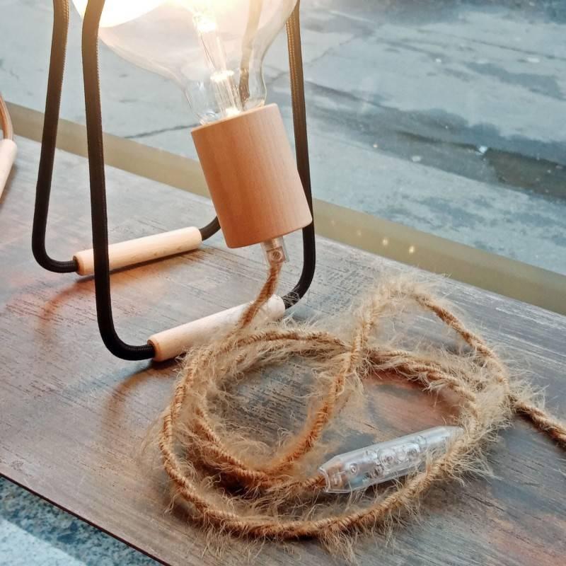 Burlesque gedraaide elektriciteitskabel bekleed met stof, pluizend harig effect, effen kleur khaki TP13