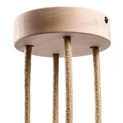 Kit cilindrische houten rozet-aansluitkap met 4 gaten