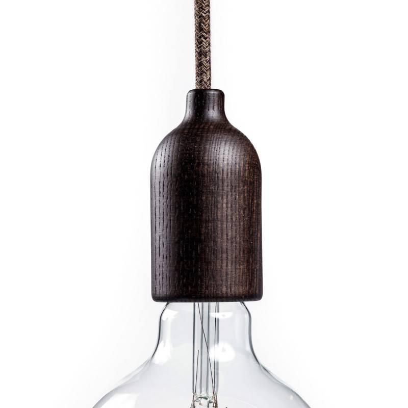 Kit E27 fitting van hout met verborgen kabelklem