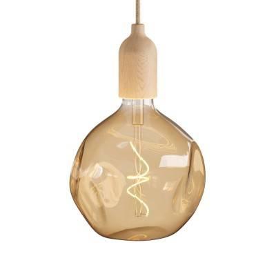 Hanglamp Made in Italy, compleet met strijkijzerkabel en houten afwerkingen