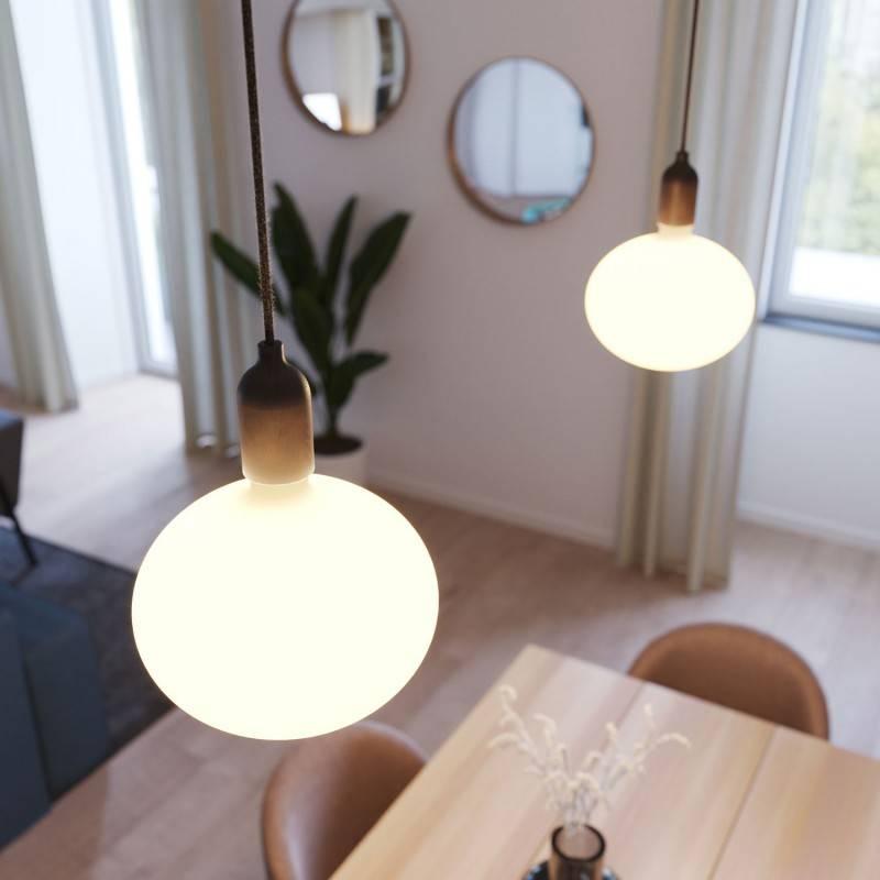 Lampe à suspension Made in Italy avec câble textile et finitions en bois