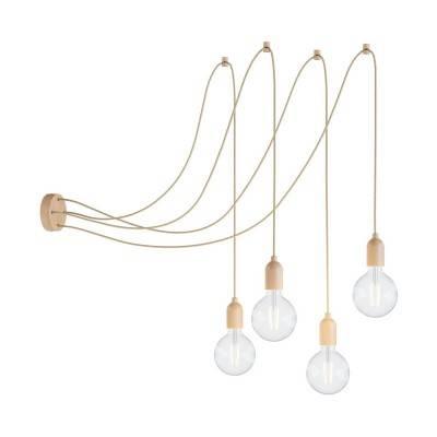 Spider - Multi-hanglamp Made in Italy met 4 lichtpunten, compleet met strijkijzerkabel en houten afwerkingen