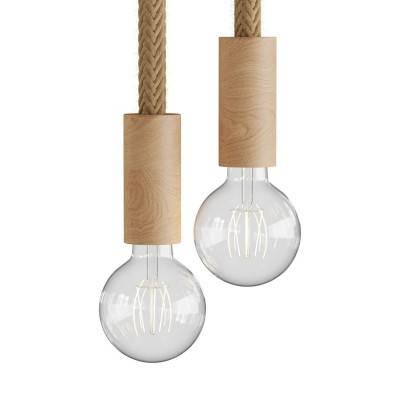Hanglamp met 2 lichtpunten, compleet met touw 2XL en houten afwerkingen
