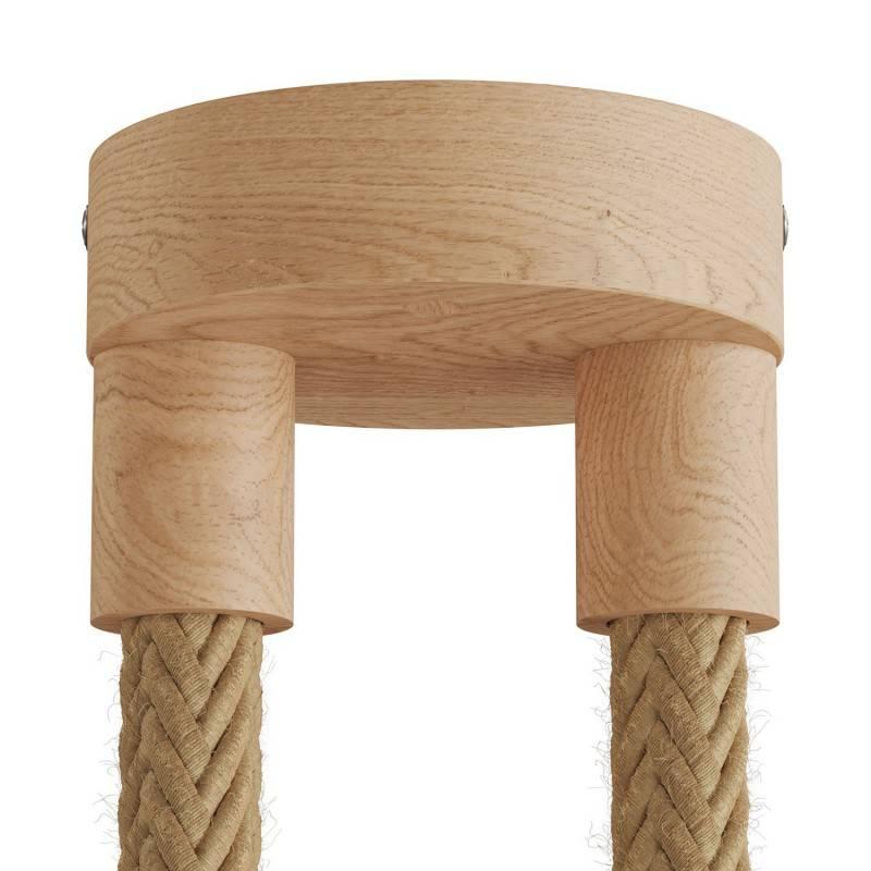 Lampe à suspension multiple à 2 bras avec cordon 2XL et finitions en bois