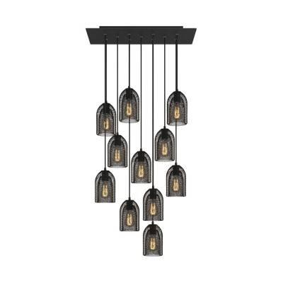 11 lichts-hanglamp voorzien van XXL rechthoekige Rose-One 675 mm compleet met strijkijzersnoer en Ghostbell metalen lampenkap