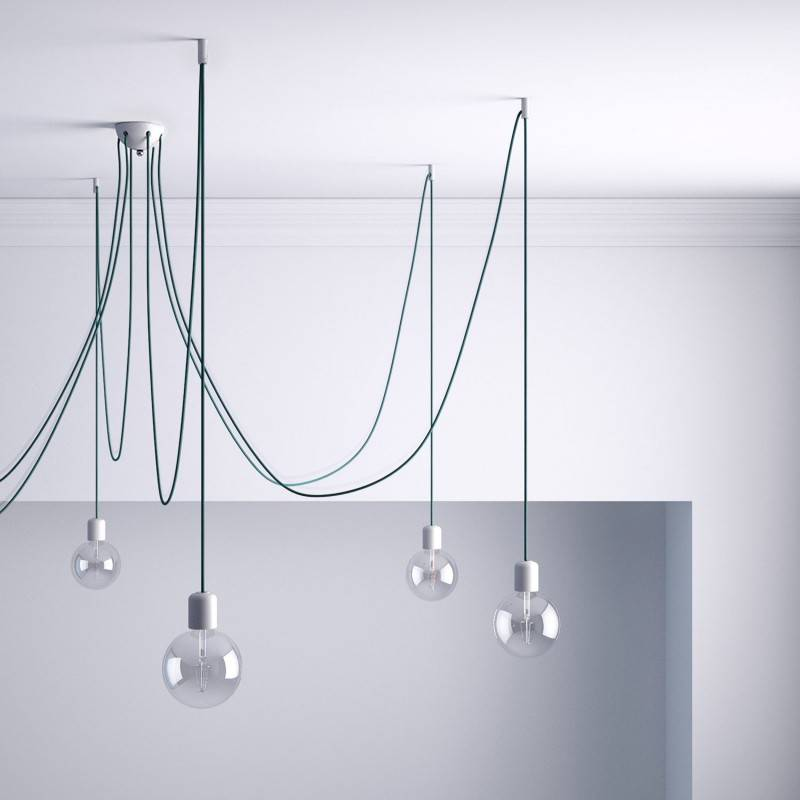 Decentralisatie, plafondhaak voor textiele elektriciteitskabels met vergrendeling