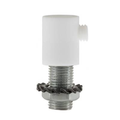 Cilindrische plastic kabelklem compleet met pendelbuis, moer en ring