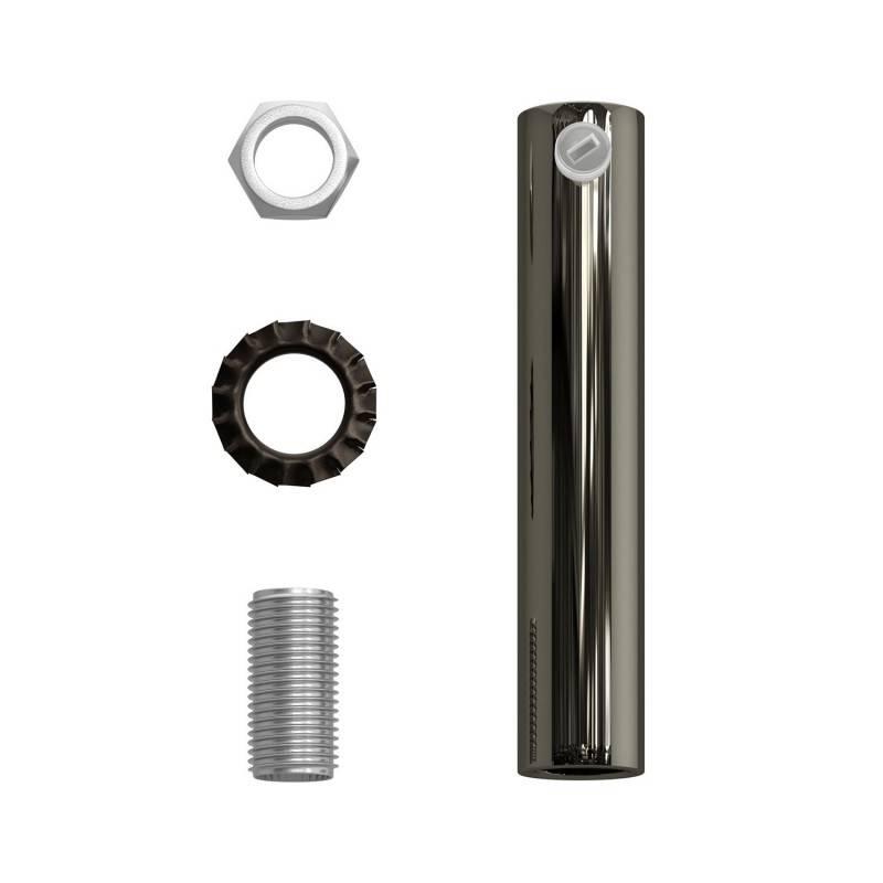Cilindrische metalen kabelklem van 7 cm, compleet met pendelbuis, moer en ring