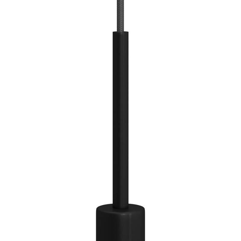Cilindrische metalen kabelklem van 15 cm, compleet met pendelbuis, moer en ring