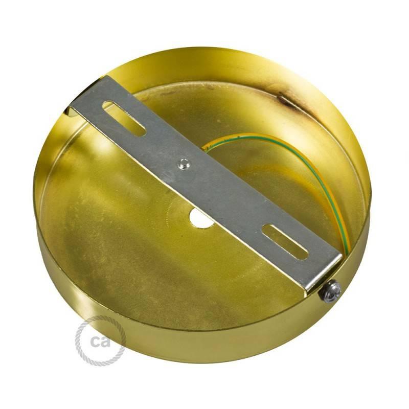 Strak design 1-gaats 120 mm. cilindrische metalen plafondkap met 7 cm. trekontlaster