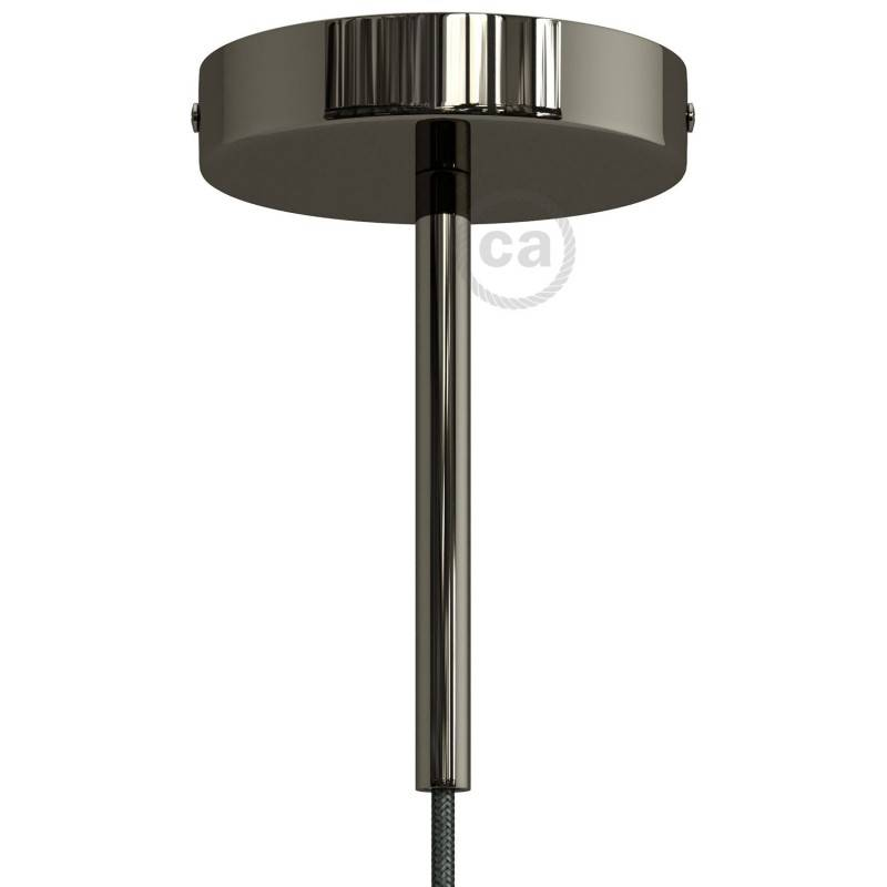 Strak design 1-gaats 120 mm. cilindrische metalen plafondkap met 15 cm. trekontlaster