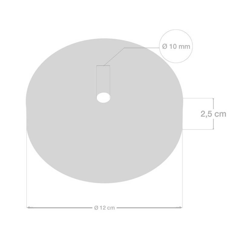 Kit rosace cylindrique en métal avec serre-câble de 15 cm