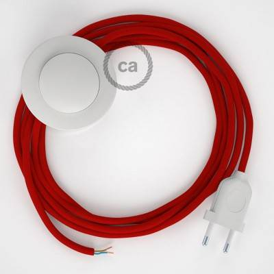 Strijkijzersnoer set RM09 rood viscose 3 m. voor staande lamp met stekker en voetschakelaar.