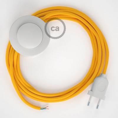 Strijkijzersnoer set RM10 geel viscose 3 m. voor staande lamp met stekker en voetschakelaar.