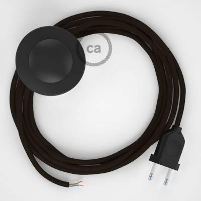 Strijkijzersnoer set RM13 bruin viscose 3 m. voor staande lamp met stekker en voetschakelaar.