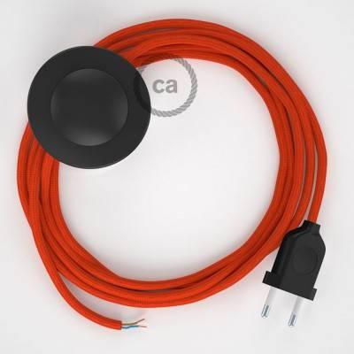 Strijkijzersnoer set RM15 oranje viscose 3 m. voor staande lamp met stekker en voetschakelaar.