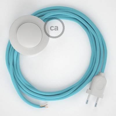 Strijkijzersnoer set RM17 baby blauw viscose 3 m. voor staande lamp met stekker en voetschakelaar.
