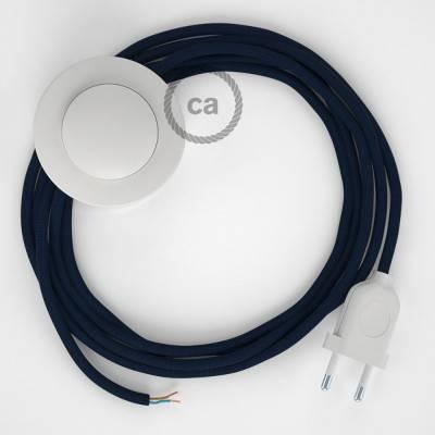 Cordon pour lampadaire, câble RM20 Effet Soie Bleu Foncé 3 m. Choisissez la couleur de la fiche et de l'interrupteur!