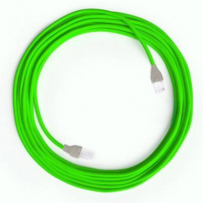 Câble Lan Ethernet Cat 5e avec connecteurs RJ45 - RF06 Effet Soie Vert Fluo