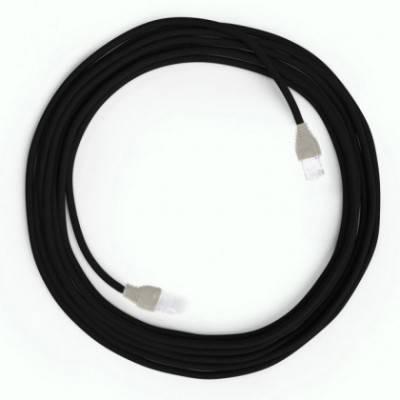 Câble Lan Ethernet Cat 5e avec connecteurs RJ45 - RM04 Effet Soie Noir