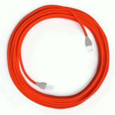 Câble Lan Ethernet Cat 5e avec connecteurs RJ45 - RF15 Effet Soie Orange Fluo