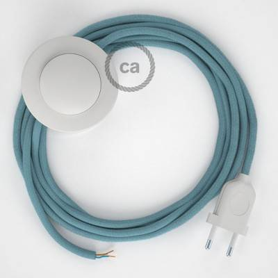 Strijkijzersnoer set RC53 zeeblauw katoen 3 m. voor staande lamp met stekker en voetschakelaar.