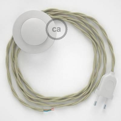 Cordon pour lampadaire, câble TC43 Coton Tourterelle 3 m. Choisissez la couleur de la fiche et de l'interrupteur!
