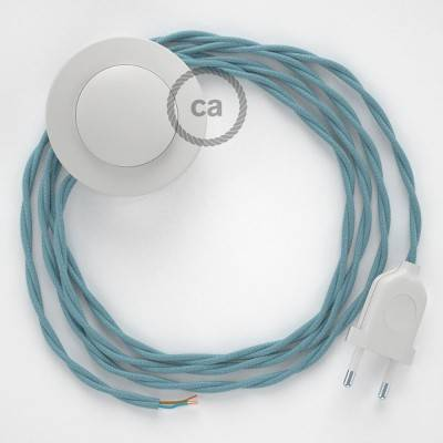 Cordon pour lampadaire, câble TC53 Coton Océan 3 m. Choisissez la couleur de la fiche et de l'interrupteur!