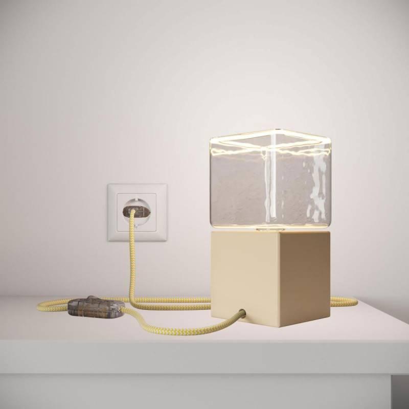 Posaluce Cubetto Color, tafellamp van geverfd hout, compleet met strijkijzersnoer, schakelaar en tweepolige stekker
