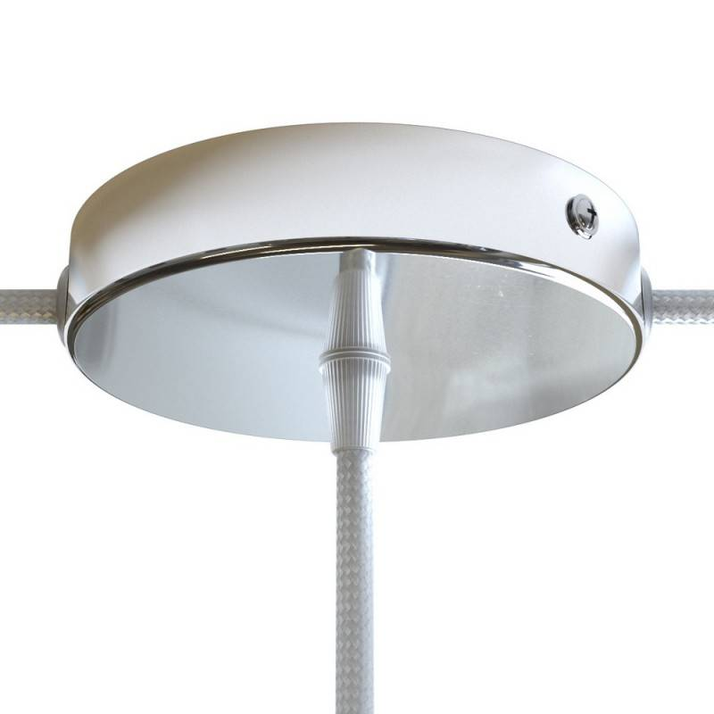 Strak design 120 mm. cilindrische metalen plafondkap met 1 centraal gat en 2 zijgaten en toebehoren