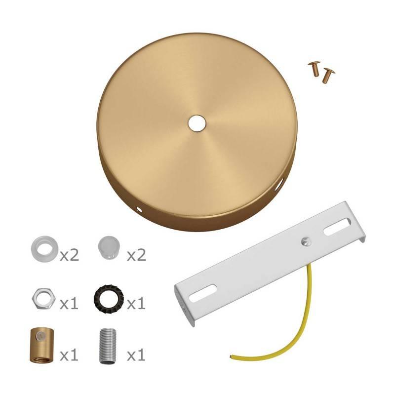 Kit rosace cylindrique en métal avec 1 trou central et 2 trous latéraux