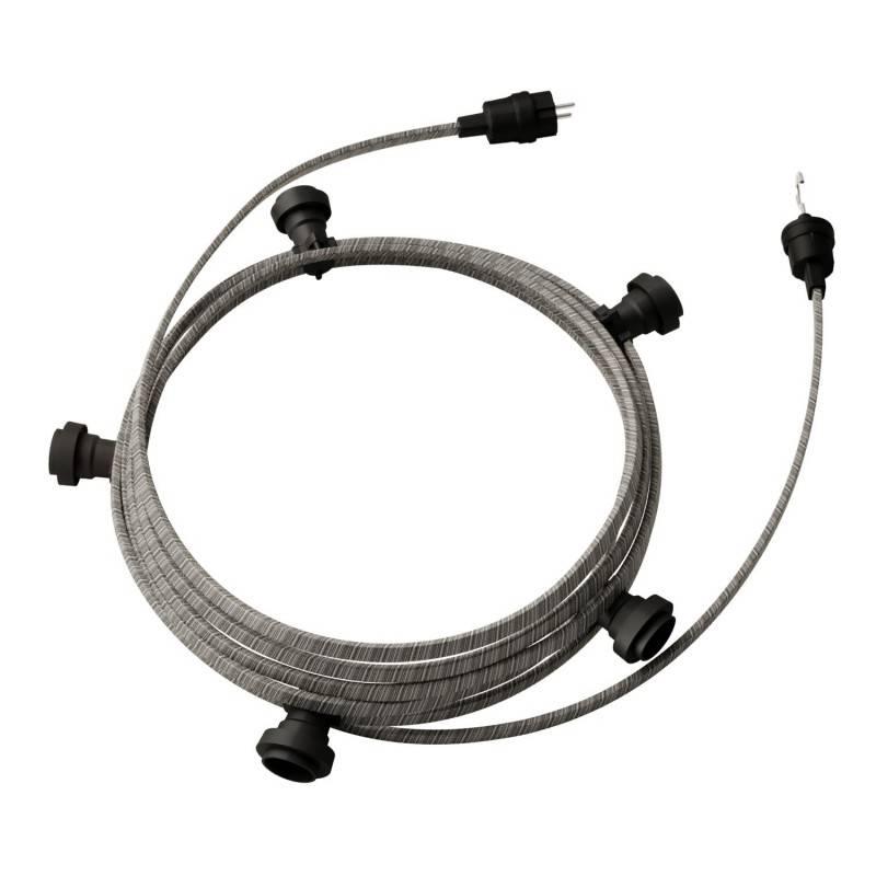 Lumet - 7,5 meter lichtsnoer met 5 zwarte fittingen, haak en stekker