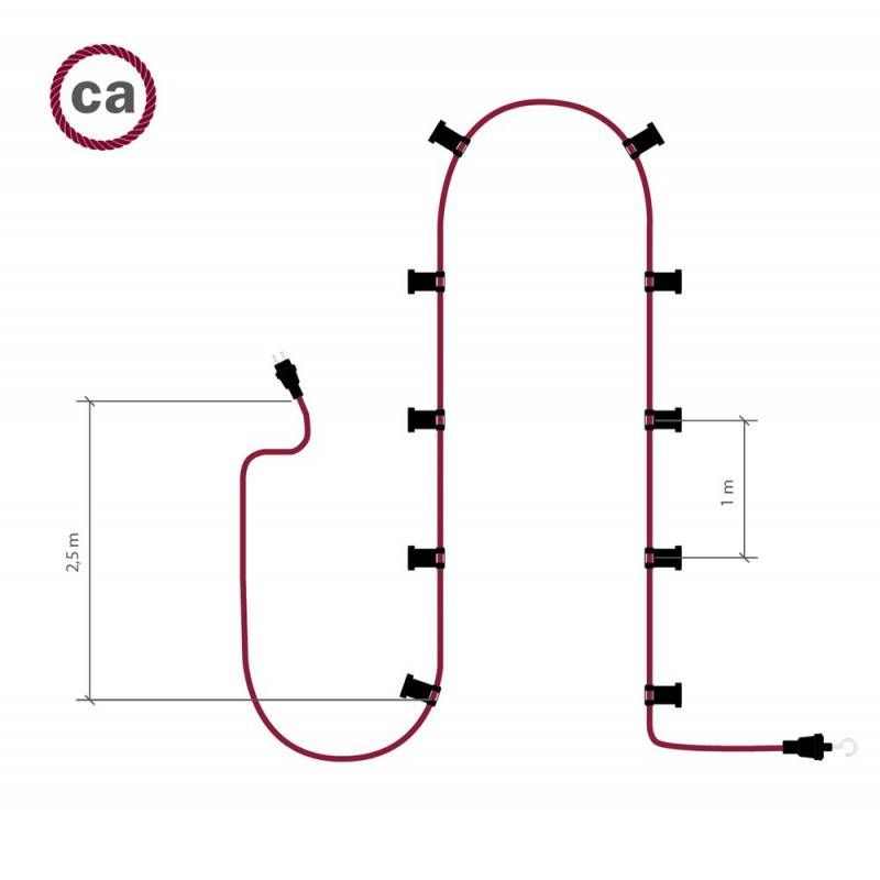 Guirlande lumineuse guinguette 12,5 m prête à l'emploi avec 10 douilles, crochet et prise noirs inclus