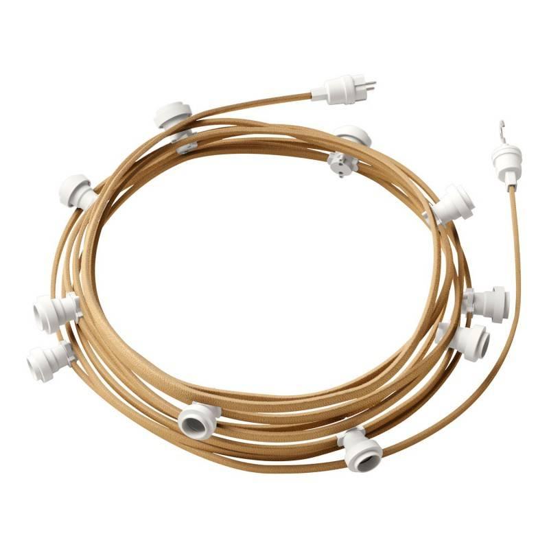Lumet - 12,5 meter lichtsnoer met 10 witte fittingen, haak en stekker