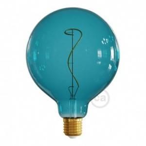 Ampoule LED Globo G125 série Pastel, Bleu Océan (Ocean Blue), filament liane 4W 220-240V E27 Dimmable 2200K