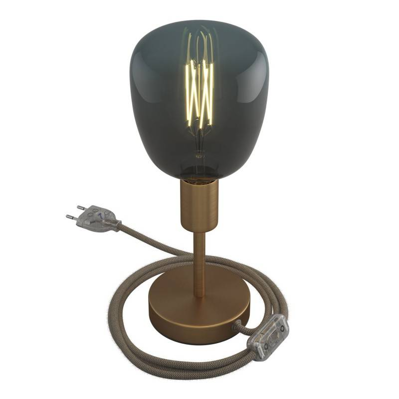 Alzaluce - metal table lamp with fabric cable, switch and 2 poles plug