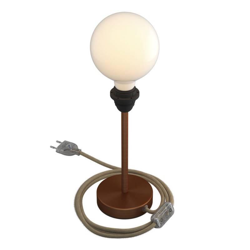 Alzaluce pour abat-jour - lampe de table en métal avec fiche à deux pôles, câble textile et interrupteur