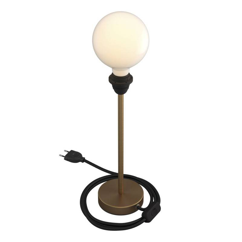 Alzaluce - metal table lamp for lampshades with fabric cable, switch and 2 poles plug
