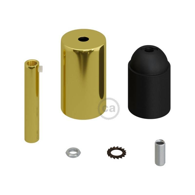 Kit douille E27 cylindrique en métal avec serre-câble de 7 cm