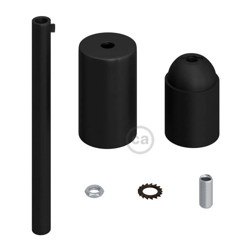 Kit douille E27 cylindrique en métal avec serre-câble de 15 cm
