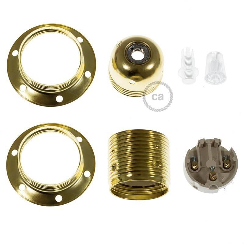 Metalen E27 fitting voor lampenkap met 2 schroefringen
