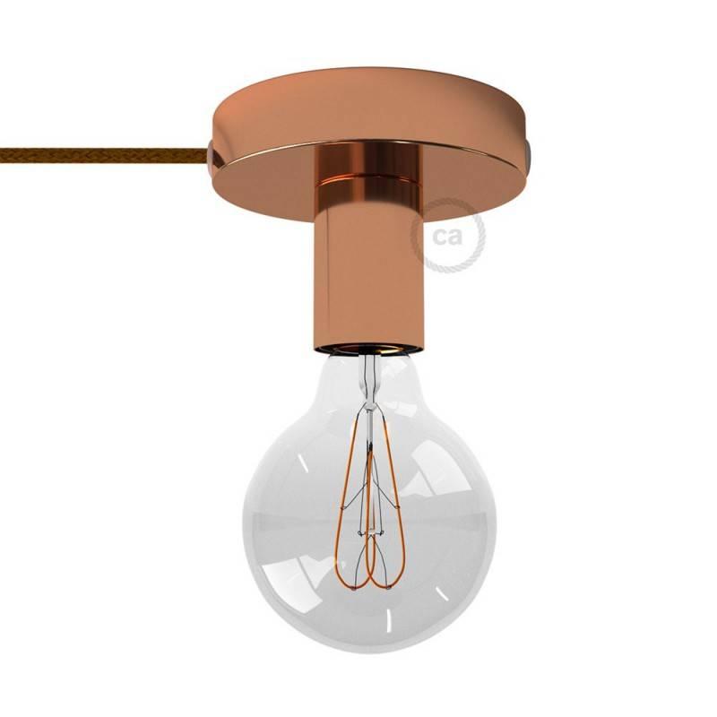 Spostaluce, source de lumière en métal avec câble textil et trous latéraux