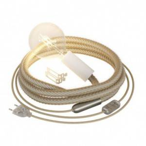 SnakeBis cablâge avec porte-lampe en bois, douille en métal et cordon 2XL Jute et Coton brut blanc