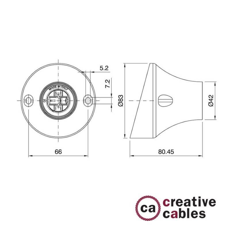 45° E27 thermoplastische wand- of plafondfitting