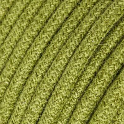 Câble Electrique rond recouvert de Jute Couleur Unie Vert Foin RN23