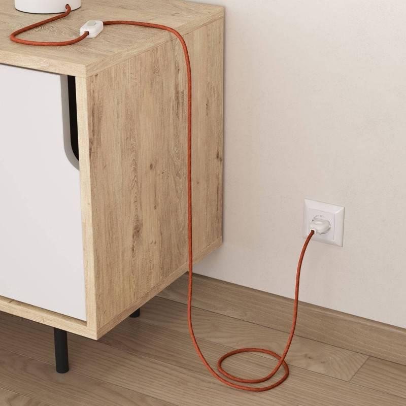 Câble Electrique rond recouvert de Jute Couleur Unie Argile Orangée RN27