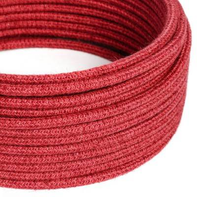 Câble Electrique rond recouvert de Jute Couleur Rouge Cerise RN24