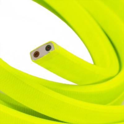 Met textiel omweven 220 V prikkabel, geel neon viscose CF10